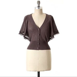 Anthro Moth Whisked Away Flutter Sleeve Cardigan M